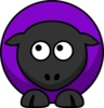 Sheep Looking Up To Right Purple  Clip Art