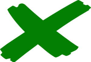 Green X Marks The Spot Clip Art