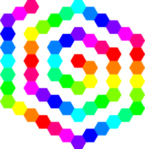 60 Hexagon Spiral Clip Art