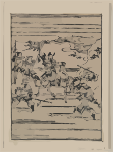 [scenes Related To The Soga Family - A Warrior On Horseback With Retainers Leading And Following Him] Clip Art