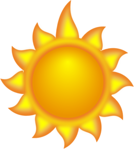 A Sun Cartoon With A Long Ray 2 Clip Art