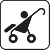Stroller-black And White Clip Art