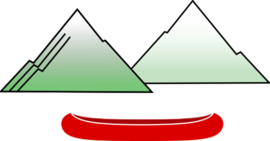 Canoe With Mountains Clip Art