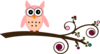 Peach Owl On Branch Clip Art