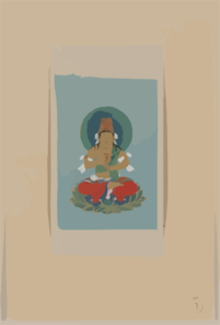 Religious Figure Sitting On A Lotus, Facing Front, With Blue/green Halo Behind His Head Clip Art