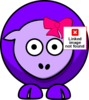 Sheep Two Toned Purple With Pink Bow Clip Art
