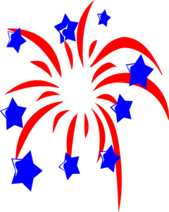 Red Fireworks With Blue Stars Clip Art