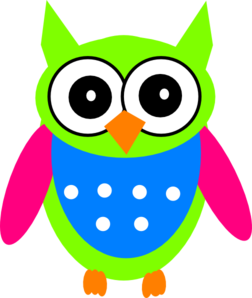 Green Pink Turquoise Owl Clip Art at Clker.com - vector ...