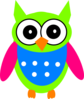 Green Pink Turquoise Owl Clip Art