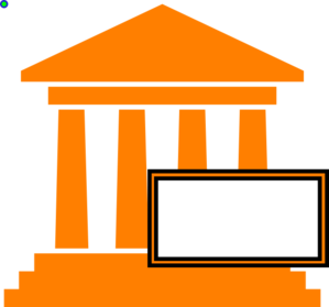 Courthouse Hot Orange Clip Art