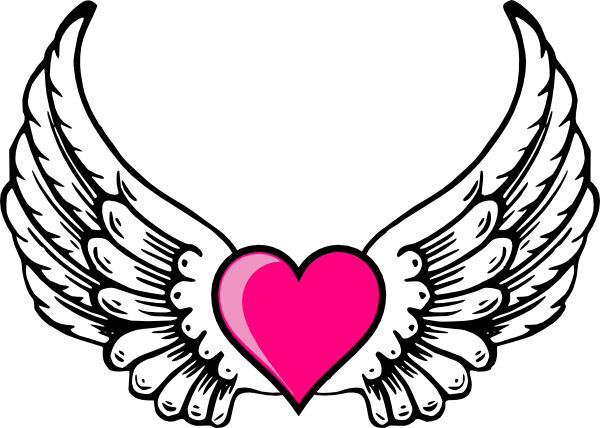Wings N Pink Heart Clip Art At Clker Com Vector Clip Art Online Royalty Free Amp Public Domain