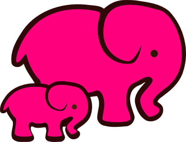 pink elephant mom amp baby clip art at clkercom vector