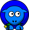 Sheep Blue Two Toned Looking To The Right Clip Art