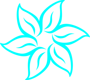 Aqua Flower Outline Clip Art