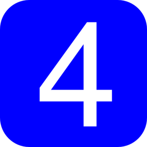 Blue, Rounded, Square With Number 4 Clip Art