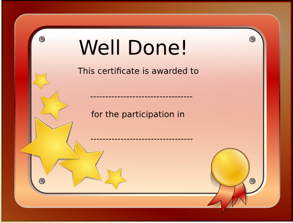 Participation certificate clip art at vector for Certification of participation free template