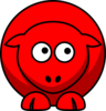 Sheep Red Looking Up To Left Clip Art