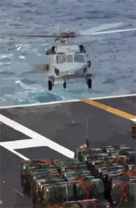An Sh-60 Seahawk Helicopter Prepares To Transport Ordnance From Uss Theodore Roosevelt (cvn 71) To Uss George Washington (cvn 73). Clip Art
