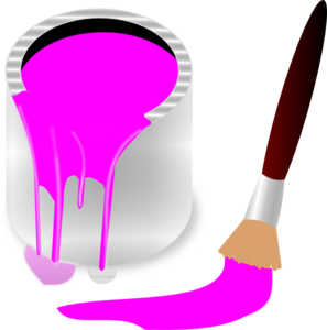 Clipart Pink Paint Bucket And Paint Brush Clip Art