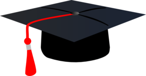 Graduation Hat With Red Tassle Clip Art