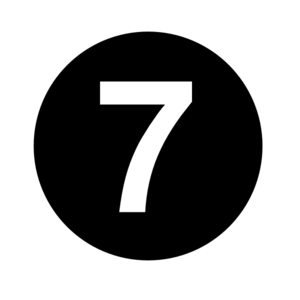 White Numeral  7  Centered Inside Black Circle  Clip Art