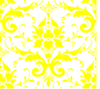 Yellow On White Damask Clip Art