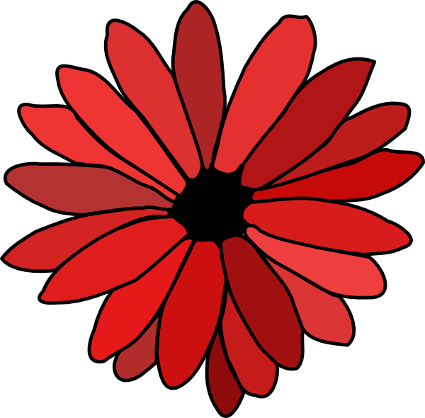 Red Flower Line Drawing : Red flower clip art at clker vector online