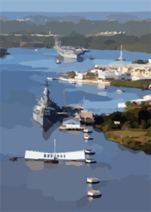 Uss Carl Vinson (cvn 70) Pulls Past The Arizona Memorial And The Battleship Uss Missouri (bb 63) As She Enters Pearl Harbor Clip Art