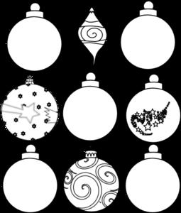 nine ornaments outline clip art