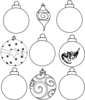 Nine Ornaments Outline Clip Art
