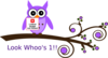 Purple Owl On Branch Birthday Clip Art