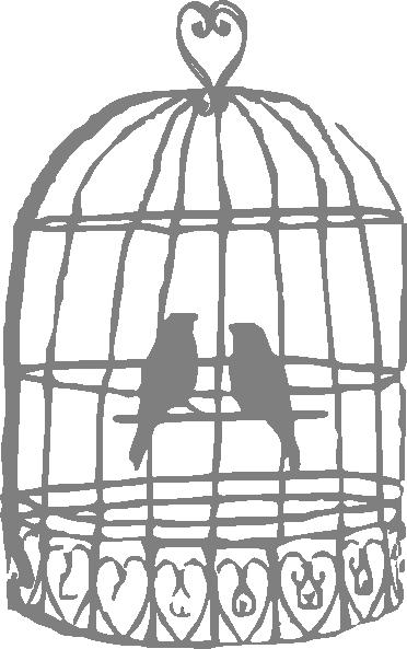 Grey Lovebirds Birdcage Clip Art at Clker.com - vector ...