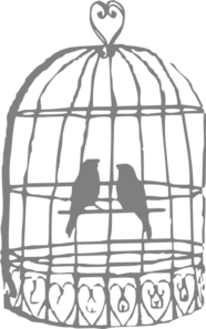 Grey Lovebirds Birdcage Clip Art