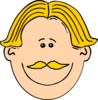 Smiling Man With Blond Hair And Mustache Clip Art