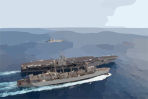 The Nuclear Powered Aircraft Carrier Uss Harry S. Truman (cvn 75) Conducts A Refueling At Sea (ras) With The Military Sealift Command (msc) Fast Combat Support Ship Usns Arctic (t-aoe 8). Clip Art