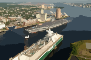 Tug Boats Guide Uss Harry S. Truman (cvn 75) Up The Elizabeth River, Past Portsmouth Landmarks Clip Art