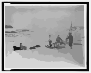 [lady Franklin Bay Expedition Members Lt. Lockwood, Sgt. Brainard, And Eskimo Leaving Conger, April] Clip Art