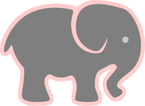 Grey Elephant With Pink Clip Art