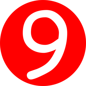 Red, Rounded,with Number 9 Clip Art