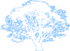 White Tree Blue Outline Clip Art