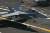 An F/a-18f Super Hornet Makes An Arrested Landing Aboard The Flight Deck Of Uss Kitty Hawk (cv 63). Clip Art