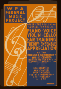 W.p.a. Federal Music Project Offers The Following Courses For Adults - Piano, Voice, Violin, Cello, Ear Training, Theory, [and] Ensemble Appreciation At The Chelsea Community Music Center Clip Art