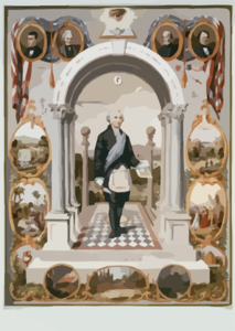 Washington As A Mason  / Drawn By J.f. Queen ; Printed In Oil Colors By P.s. Duval Son & Co. Clip Art