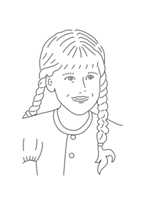 Girl With Braided Hair Outline Clip Art