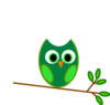 Green Owl Branch Clip Art