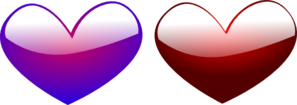 Red And Blue Hearts Clip Art