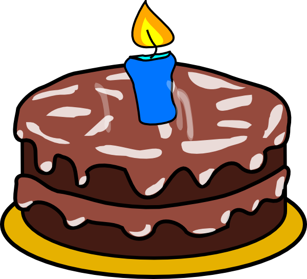 One Birthday Candle Clipart Cake With 1 Can...