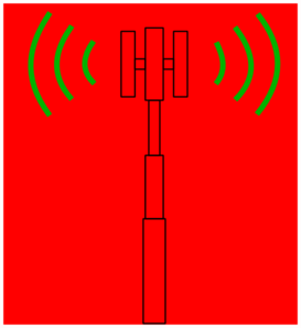 Cellular Tower Red Background Clip Art