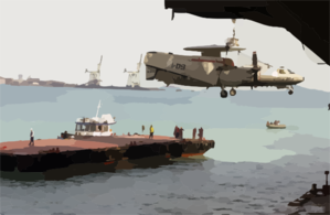 An E-2c  Hawkeye  Is Hoisted And Lowered Onto A Barge In Bahrain Clip Art