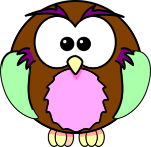Green Purple Tan Owl Clip Art